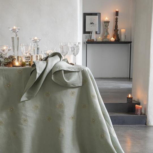 Nappe en 100% lin uni brodé Siderale - Alexandre Turpault