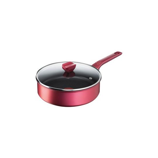 Sauteuse rouge 24 cm avec couvercle - Daily Chef